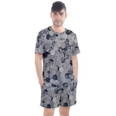 Grayscale Tiles Men s Mesh Tee And Shorts Set