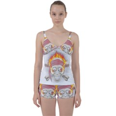 Fire Red Skull Tie Front Two Piece Tankini