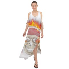 Fire Red Skull Maxi Chiffon Cover Up Dress