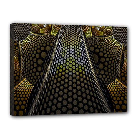 Fractal Hexagon Geometry Hexagonal Canvas 16  X 12  (stretched) by Mariart