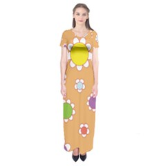 Floral Flowers Retro Short Sleeve Maxi Dress