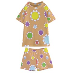 Floral Flowers Retro Kids  Swim Tee And Shorts Set