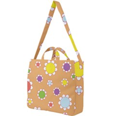 Floral Flowers Retro Square Shoulder Tote Bag by Mariart