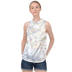 Geometric Pattern Abstract Shape High Neck Satin Top