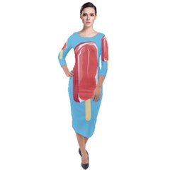 Ice Cream Quarter Sleeve Midi Velour Bodycon Dress by Mariart