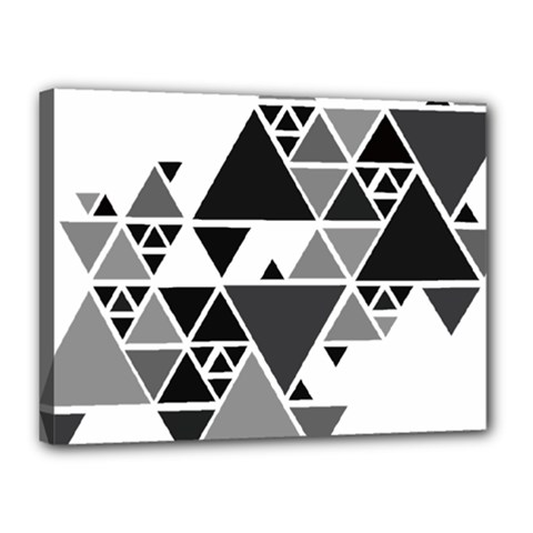 Gray Triangle Puzzle Canvas 16  X 12  (stretched) by Mariart