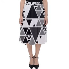 Gray Triangle Puzzle Classic Midi Skirt