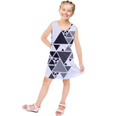 Gray Triangle Puzzle Kids  Tunic Dress