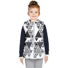 Gray Triangle Puzzle Kids  Hooded Puffer Vest by Mariart