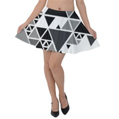 Gray Triangle Puzzle Velvet Skater Skirt