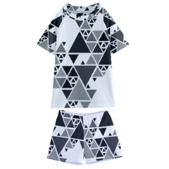 Gray Triangle Puzzle Kids  Swim Tee And Shorts Set