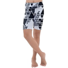 Gray Triangle Puzzle Kids  Lightweight Velour Cropped Yoga Leggings