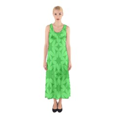 Green Magenta Wallpaper Seamless Pattern Sleeveless Maxi Dress