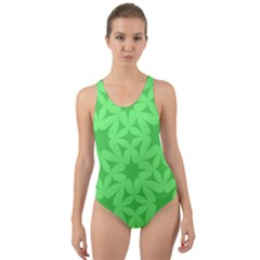 Green Magenta Wallpaper Seamless Pattern Cut Out Back One Piece Swimsuit