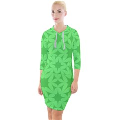 Green Magenta Wallpaper Seamless Pattern Quarter Sleeve Hood Bodycon Dress