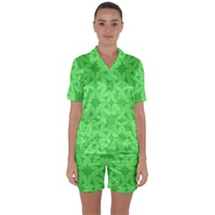 Green Magenta Wallpaper Seamless Pattern Satin Short Sleeve Pyjamas Set by Mariart