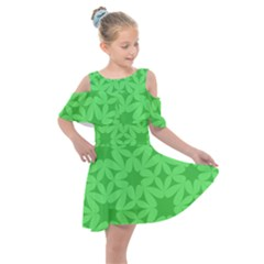 Green Magenta Wallpaper Seamless Pattern Kids  Shoulder Cutout Chiffon Dress by Mariart