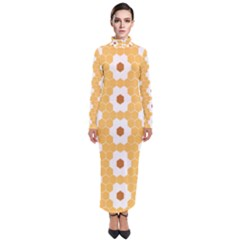 Hexagon Honeycomb Turtleneck Maxi Dress by Mariart