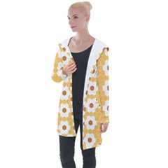 Hexagon Honeycomb Longline Hooded Cardigan by Mariart