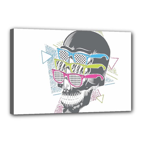 Illustration Skull Rainbow Canvas 18  X 12  (stretched) by Mariart