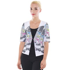 Illustration Skull Rainbow Cropped Button Cardigan by Mariart
