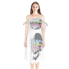 Illustration Skull Rainbow Shoulder Tie Bardot Midi Dress