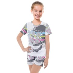 Illustration Skull Rainbow Kids  Mesh Tee And Shorts Set by Mariart
