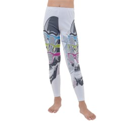 Illustration Skull Rainbow Kids  Lightweight Velour Leggings by Mariart