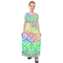 Hippie Fabric Background Tie Dye Kids  Short Sleeve Maxi Dress by Mariart