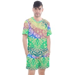 Hippie Fabric Background Tie Dye Men s Mesh Tee And Shorts Set