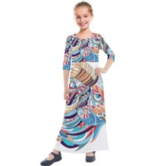 Goat Sheep Ethnic Kids  Quarter Sleeve Maxi Dress by Mariart
