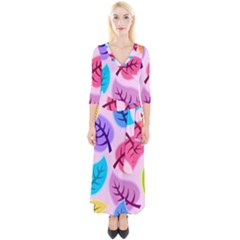 Leaves Background Beautiful Quarter Sleeve Wrap Maxi Dress by Mariart