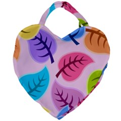 Leaves Background Beautiful Giant Heart Shaped Tote by Mariart