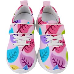 Leaves Background Beautiful Kids  Velcro Strap Shoes by Mariart