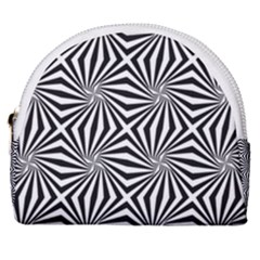Line Stripe Pattern Horseshoe Style Canvas Pouch by Mariart