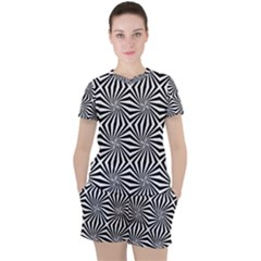 Line Stripe Pattern Women s Tee And Shorts Set by Mariart