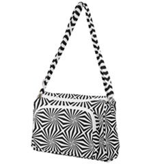 Line Stripe Pattern Front Pocket Crossbody Bag