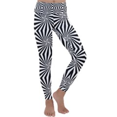 Line Stripe Pattern Kids  Lightweight Velour Classic Yoga Leggings by Mariart