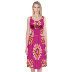 Morroco Tile Traditional Midi Sleeveless Dress