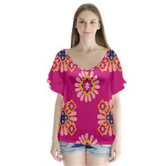 Morroco Tile Traditional V Neck Flutter Sleeve Top