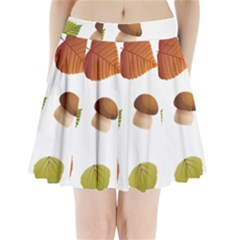 Leaves Mushrooms Pleated Mini Skirt