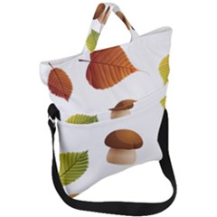Leaves Mushrooms Fold Over Handle Tote Bag by Mariart