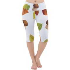 Leaves Mushrooms Lightweight Velour Cropped Yoga Leggings by Mariart