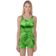 Mosaic Tile Geometrical Abstract One Piece Boyleg Swimsuit