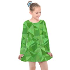 Mosaic Tile Geometrical Abstract Kids  Long Sleeve Dress