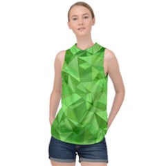 Mosaic Tile Geometrical Abstract High Neck Satin Top by Mariart