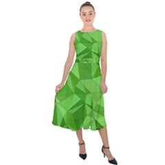 Mosaic Tile Geometrical Abstract Midi Tie Back Chiffon Dress by Mariart