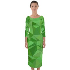 Mosaic Tile Geometrical Abstract Quarter Sleeve Midi Bodycon Dress by Mariart