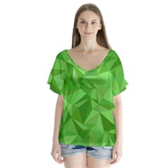 Mosaic Tile Geometrical Abstract V Neck Flutter Sleeve Top
