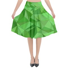 Mosaic Tile Geometrical Abstract Flared Midi Skirt